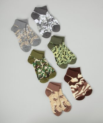 Brown & Green Camouflage No-Show Socks Set