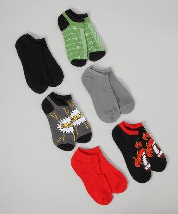 Green & Black Football No-Show Sock Set