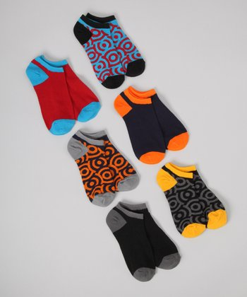 Black & Orange Circle No-Show Socks Set