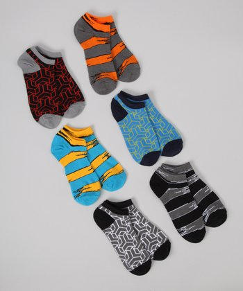 Black & Blue Block No-Show Socks Set