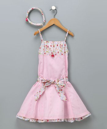 Pink Floral Sash Dress & Headband - Girls