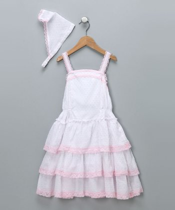 White & Pink Ruffle Dress & Handkerchief Headband - Girls