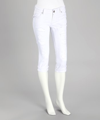 White Distressed Rhinestone Capri Pants