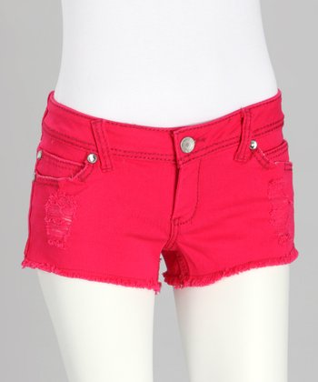 Strawberry Frayed Rhinestone Shorts