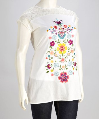 Off-White Floral Embroidered Tunic - Plus