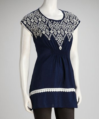 Navy Embroidered Shirred Top