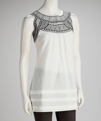Birch Embroidered Sleeveless Yoke Top