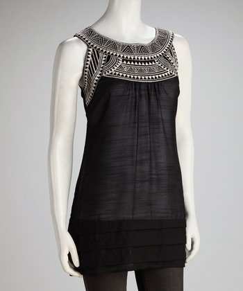 Black Embroidered Sleeveless Yoke Top