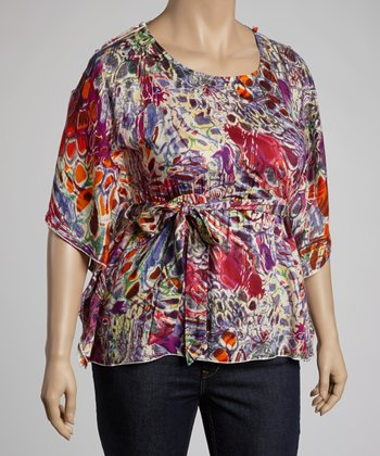 Purple & Pink Jungle Cape-Sleeve Top - Plus