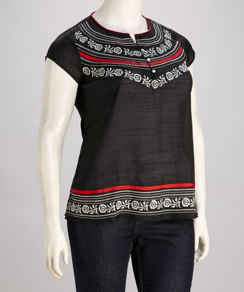 Black Embroidered Button Top - Plus