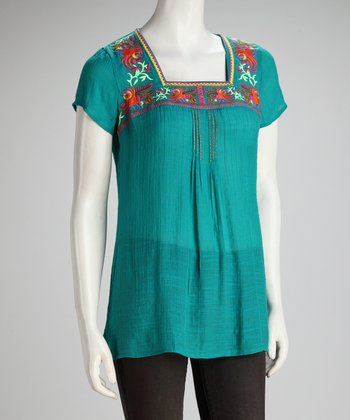 Turquoise Square Neck Top