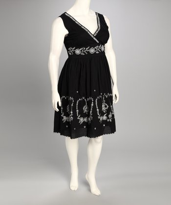 Black Embroidered Surplice Dress - Plus