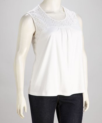 White Eyelet Sleeveless Tunic - Plus
