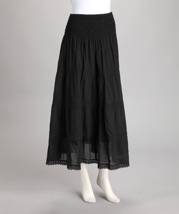 Black Lace Peasant Maxi Skirt