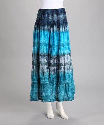 Blue Lace Peasant Maxi Skirt