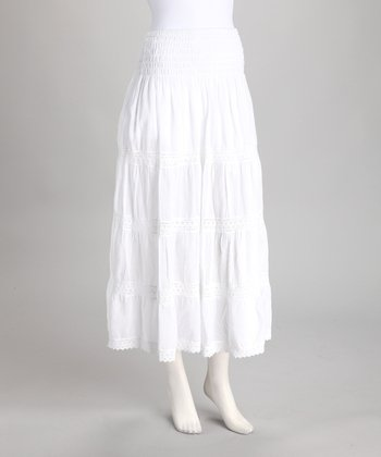 White Lace Peasant Maxi Skirt