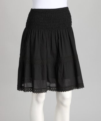 Black Lace Peasant Skirt