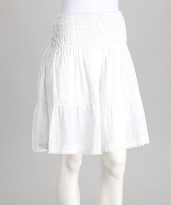 White Lace Peasant Skirt