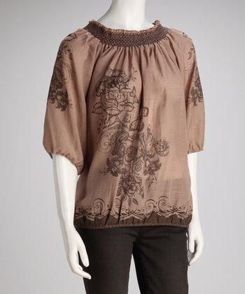 Beige Butterfly Peasant Top