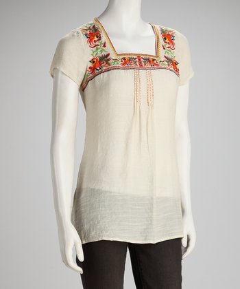 White Embroidered Square Neck Top