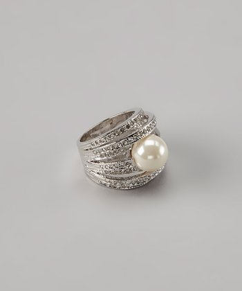 Rhodium & Pearl Right-Hand Ring