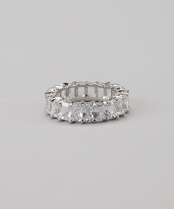Crystal & White Gold Emerald-Cut Eternity Band