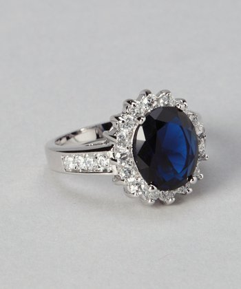 White Gold & Blue Cocktail Ring