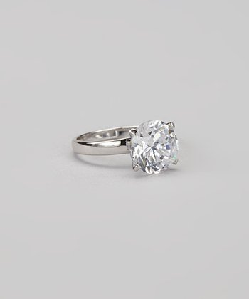 Crystal & Sterling Silver Round-Cut Solitaire Ring