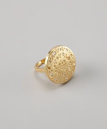 Gold Textured Saucer Ring