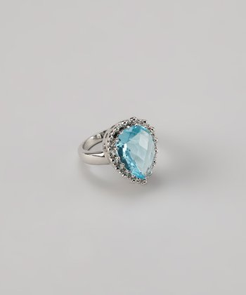 Rhodium & Blue Cubic Zirconia Cocktail Ring