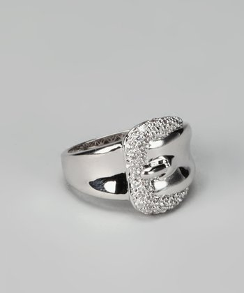 White Gold & Crystal Buckle Ring