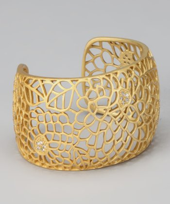 Gold & Crystal Floral Filigree Cuff