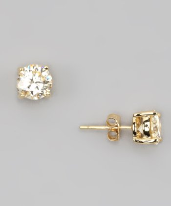 Gold Princess-Cut Crystal Stud Earrings