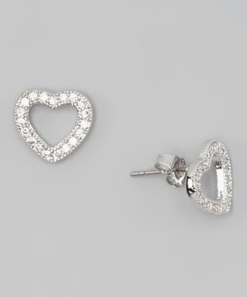 White Gold & Crystal Heart Earrings