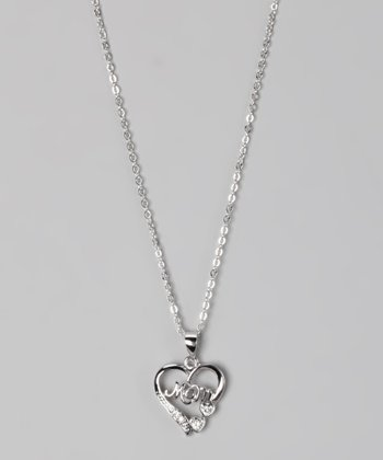 "White Gold ""Mom"" Necklace"
