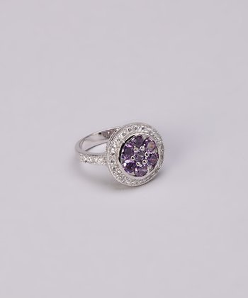 Amethyst & Silver Crystal Flower Ring