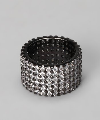 Black & White Cubic Zirconia Gear Ring