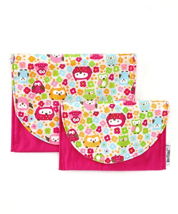 Bright Pink Who's Looking Reusable Bag Set