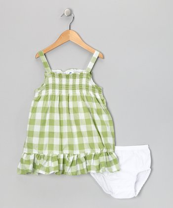 Green Checkerboard Dress & Diaper Cover - Infant, Toddler & Girls