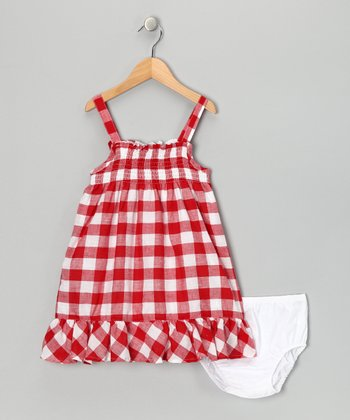 Red Checkerboard Dress & Diaper Cover - Infant, Toddler & Girls