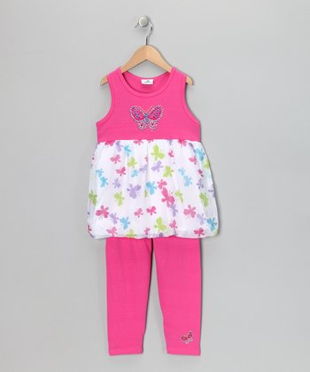 Pink Butterfly Dress & Leggings - Infant, Toddler & Girls