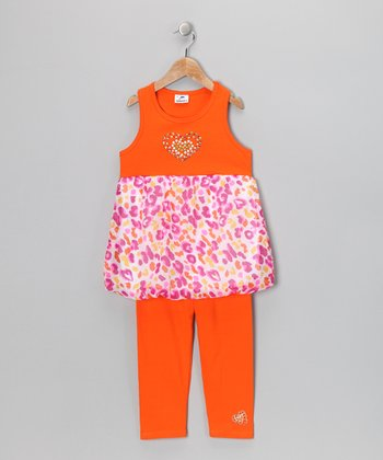 Orange Heart Dress & Leggings - Infant, Toddler & Girls