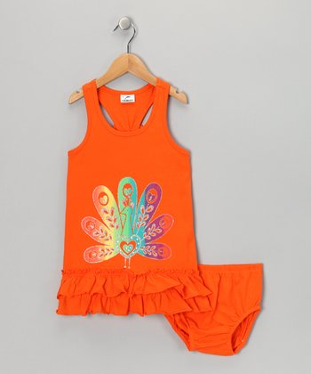 Orange Peacock Dress & Diaper Cover - Infant, Toddler & Girls