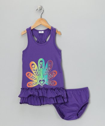 Purple Peacock Dress & Diaper Cover - Infant, Toddler & Girls
