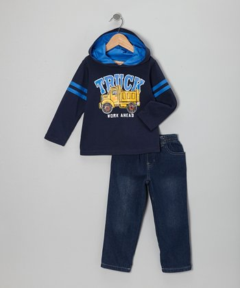Blue 'Truck' Hooded Tee & Dark Wash Jeans - Infant, Toddler & Boys