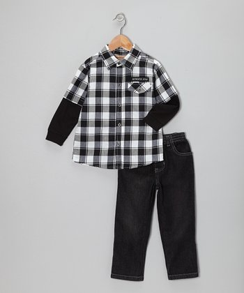 Navy Plaid Layered Button-Up & Jeans - Toddler & Boys