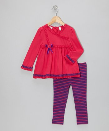 Hot Pink Frill Tunic & Purple Stripe Leggings - Toddler & Girls