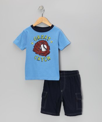 Blue 'Great Catch' Tee & Cargo Shorts - Toddler