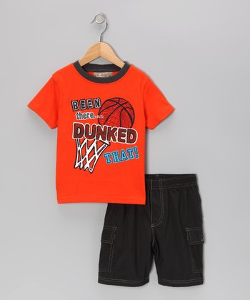 Kids Headquarters Orange 'Dunked' Tee & Gray Cargo Shorts - Infant & Toddler