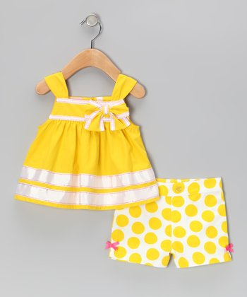 Kids Headquarters Yellow Stripe Top & Polka Dot Shorts - Infant, Toddler & Girls